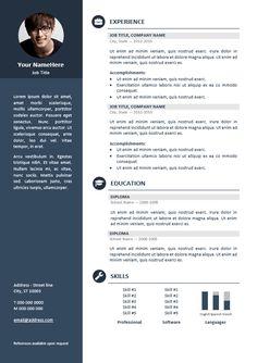 Orienta - Free professional resume CV template - Blue
