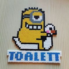 Minion custom toilet sign hama beads by perlersystrar