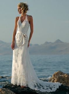 Lace Over Tulle Halter Beach Wedding Dress With Ribbon Sash on Luulla