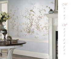 bird chinoiserie wallcovering | Mural wallpaper chinoiserie light blue birds flowers thelennoxx-birds ...