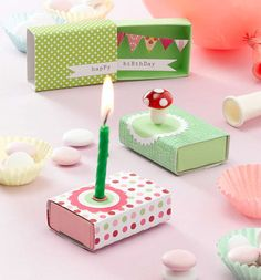 Decorated Birthday matchboxes .