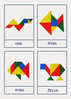 Tangram - předlohy Infant Activities, Learning Activities, Pattern Blocks, Origami, Crafts For Kids, Games, Montessori, Albums, Facebook