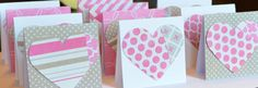 Heart Mini Cards in Pink Grey and White by CardsbyJeweleighaB, $10.00
