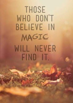 Who don't believe in magic will never find it.