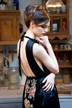 Raimunda Black Floral Mid Length Backless Dress by annapopovich