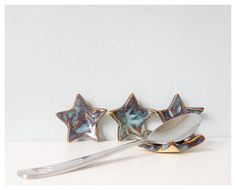 Blue stars ceramic spoon rest pottery chopstick rest set of four on Etsy, $16.00