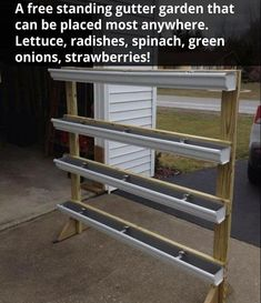 """Free standing gutter garden """"Break-Through Organic Gardening Secret Grows You Up To 10 Times The Plants, In Half The Time, With Healthier Plants, While the """"Fish"""" Do All the Work. Indoor Vegetable Gardening, Organic Gardening Tips, Greenhouse Gardening, Hydroponic Gardening, Greenhouse Frame, Greenhouse Ideas, Gardening Hacks, Greenhouse Shelves, Greenhouse Vegetables"""