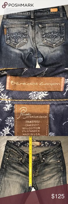 Paige Premium Denim Benedict Canyon Lagoon Jeans Paige Premium Denim Benedict Canyon Lagoon Jeans. Excellent condition except minor wear at back on of hem as pictured Anthropologie Jeans Boot Cut