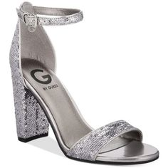 G by Guess Shantel Two-Piece Sandals (115 BRL) ❤ liked on Polyvore featuring shoes, sandals, silver sequin, ankle strap shoes, silver ankle strap sandals, silver shoes, strappy block heel sandals and silver sandals