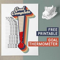 This free printable goal tracking thermometer is perfect for school fundraisers and teaching children the value of saving up for a coveted prize. Goals Printable, Free Printables, Goal Thermometer, Fundraiser Thermometer, Solar System Crafts, Goal Tracking, Goal Charts, School Auction, School Fundraisers