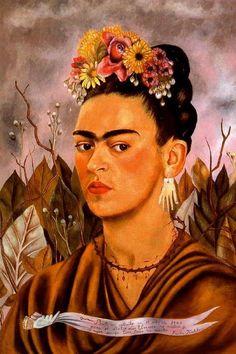 """""""Autorretrato dedicado al Dr. Eloesser ya sus hijas"""", öl von Frida Kahlo (1907-1954, Mexico)"""