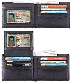 0e88c305fc84 Travelambo Genuine Leather RFID Blocking Wallets Mens Wallet Bifold Classic