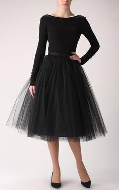 Black Tulle Skirt & fitted black boat neck