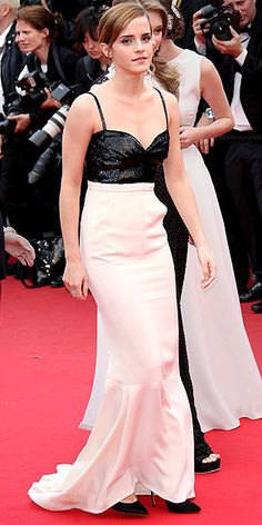 EMMA WATSON The actress plays it safer than we had hoped for in a silk-skirted Chanel gown with a beaded black bodice and an open back. Though she does add some edge with trendy cuff earrings at the premiere of The Bling Ring. The Cannes Film Festival 2013