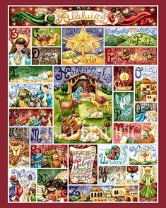 Nativity alfabet--originele kunst drukken 8 X 10, 11 X 14