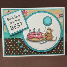 Handmade House Mouse Birthday Card - Donut Birthday Card - Cute Mouse Birthday…