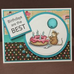 Handmade House Mouse Birthday Card  - Donut Birthday Card - Cute Mouse Birthday Card by TrioCards on Etsy