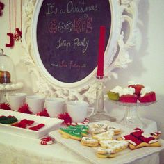 Christmas Party ideas & inspo decor sweet table chalk & food red light holiday