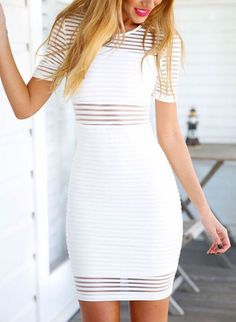 White Short Sleeve Sheer Striped Bodycon Dress -SheIn(Sheinside) Mobile Site