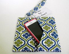 Navy and Green iPhone Wristlet Damask Print iPhone Wallet fits iPhone 5 and iPhone SE Handmade Wristlet by AmyReneeNicosia on Etsy