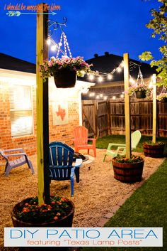 Easy DIY Backyard Projects with Lots of Tutorials DIY Patio Area with Texas Lamp Posts. Budget Patio, Diy Patio, Backyard Patio, Backyard Landscaping, Backyard Retreat, Outdoor Patio Ideas On A Budget Diy, Diy Backyard Projects, Diy Landscaping Ideas, Patio Decorating Ideas On A Budget