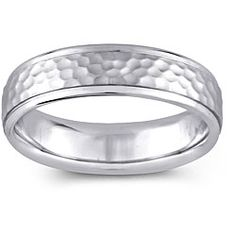 14k White Gold Women's Hammered Design Comfort Fit Wedding Band (5.5 mm) | Overstock.com Shopping - The Best Deals on Men's Rings