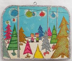 Charlie Brown, Linus Picking Out Tree Vtg Book Img Glittered Christmas Ornament