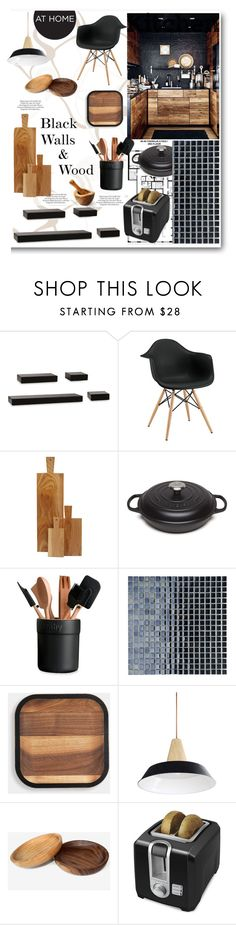 """Black Walls & Wood Kitchen"" by grapecrush on Polyvore featuring interior, interiors, interior design, home, home decor, interior decorating, ASOS, Franklin, Melannco and canvas"
