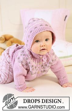Cardigan and Bonnet - sizes 1 mo. to 4 yrs. Yarn DK/8 ply; Needle sizes 4 and 7