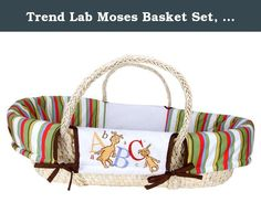 Trend Lab Moses Basket Set, Dr. Seuss ABC. Trend lab's Dr. Seuss abc Moses basket is the perfect resting place for your little one wherever you may be. 4 piece Moses basket set includes a natural maize basket, foam mattress, removable white jersey sheet and wrap style bumper. Outside of bumper features a variegated stripe print in barn red, avocado, cornflower blue, mango orange and chocolate brown along with white mini waffle pique and an embroidery featuring large and small letters...