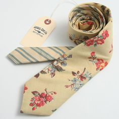 Vintage 1950s Floral & Silk Stripe Necktie - vintage ties handmade in the United States