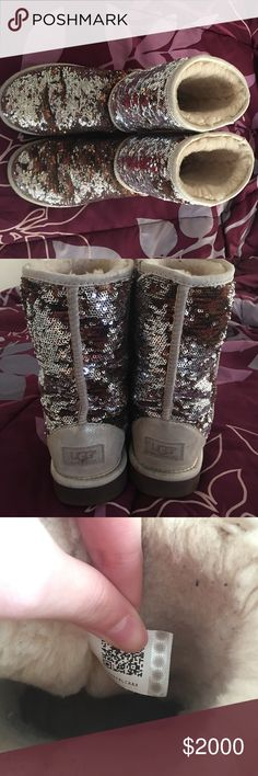 Sparkly Ugg Boots ❌ONLY TRADE❌ I'm only looking to trade for other uggs or Jordans! Must be in same condition! Size 8. Almost perfect condition. All sparkles intact. No stains. No rips. The fur is still fluffy and soft (not embedded down yet). UGG Shoes Winter & Rain Boots