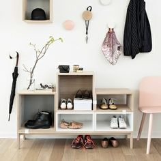 The Dots hooks and Stacked shelves by Muuto.