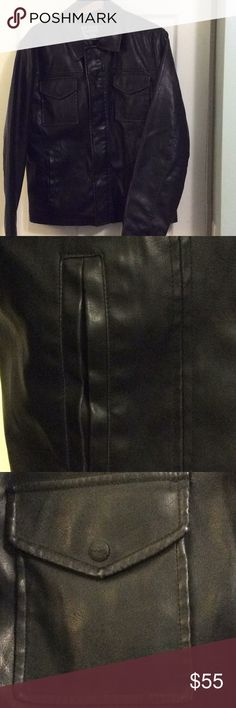 Levi's Faux Leather Motorcycle Jacket Men's My husband's Black faux leather jacket; never worn. It has a slimmer fit, but room to move your arms. It has a zipper and snaps, one internal breast pocket, two external breast pockets with snaps, and two slash pockets. Very classic and smart looking. Levi's Jackets & Coats Bomber & Varsity