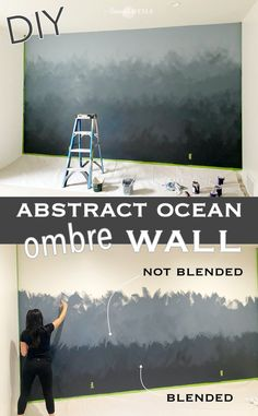 DIY Home Projects diy abstract ocean ombre wall tutorial Spa Supply: Helping You Unwind At Home We'v Diy Wall Painting, Drip Painting, Diy Ombre, Ombre Painted Walls, Ombre Walls, Ocean Mural, Mur Diy, Wall Design, Home Projects