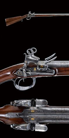 A fine double-barrelled flintlock gun by Aguirre   dating: first quarter of the 19th Century   provenance: Spain