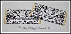 Chocolate Bar Wrappers #Black #And #White #Damask #Floral #Engagement #Party #Colour #Schemes #Bunting #Party #Decorations #Ideas #Banners #Cupcakes #WallDisplay #PopTop #JuiceLabels #PartyBags #Invites #KatieJDesignAndEvents #Personalised #Creative