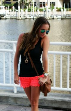 Sequins and Sea Breezes: Black tank + bright coral lace shorts