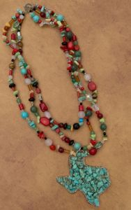 Wired Heart® Turquoise Texas Chip Stone Pendant with Multicolor Beads Necklace NK13CB01MLT | Cavender's