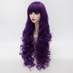 Elegant Long Wavy Full Bang Heat Resistant Synthetic Fashion Harajuku Capless Lolita Cosplay Wig (PURPLE 89P#) in Cosplay Wigs | DressLily.com