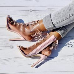 Pink Clear Front Lace Up Open Toe High Heel Booties Patent Transparent Heels, Open Toe High Heels, 5 Inch Heels, Lace Up, Booty, Pink, Leather, Shoes, Style