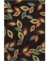 Filament Floral Design Wool Rug (5' x 7'6) (Burgundy), Brown