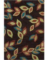 Filament Floral Design Wool Rug (5' x 7'6) (Burgundy), Brown