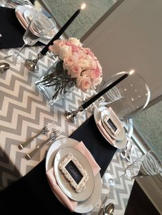 valentines day dinner table grey pink chevron