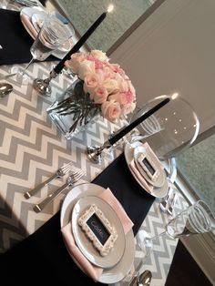 valentines day dinner table grey pink chevron