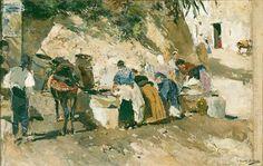 """ETAPA DE CONSOLIDACIÓN (1889-1899). """"LA FUENTE, BUÑOL"""", 1890-1895. Realizado entre 1890 y 1895 en Buñol, un pueblecito del interior de la provincia de Valencia. Sigue desarrollando Sorolla su costumbrismo valenciano en este lienzo, en el que podemos apreciar como comienza a interesarse por la luz, que es la gran protagonista del cuadro, preocupación que domina toda su etapa de consolidación."""