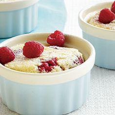 """""""This light and tangy lemon dessert satisfies my longing for lemon pie,"""" said reader Jeanette Hennings about her original version of this recipe. We added loads of berries for a more summery take. The tender berry cake rises to the top, and the creamy lemon cake sinks to the bottom."""