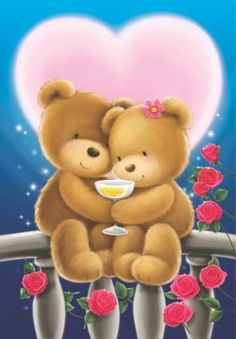 by Florynda del Sol ღ☀¨✿ ¸.ღ ♡♥♡Happy Valentine's day! Beautiful Love Pictures, Love You Images, Cute Images, Bear Valentines, Happy Valentines Day, Calin Gif, Image Halloween, Teddy Bear Pictures, Bear Wallpaper