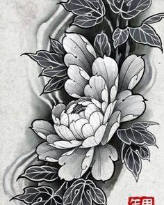 Japanese Peony Tattoo, Japanese Flowers, Future Tattoos, New Tattoos, Japan Flower, Oriental, Peonies Tattoo, Japan Tattoo, Black Tattoos