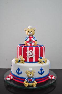 aye aye captin , this sailor bear cake is striking Baby Cakes, Baby Shower Cakes, Fondant Cakes, Cupcake Cakes, Teddy Bear Cakes, Nautical Cake, 1st Birthday Cakes, Cakes For Boys, Love Cake